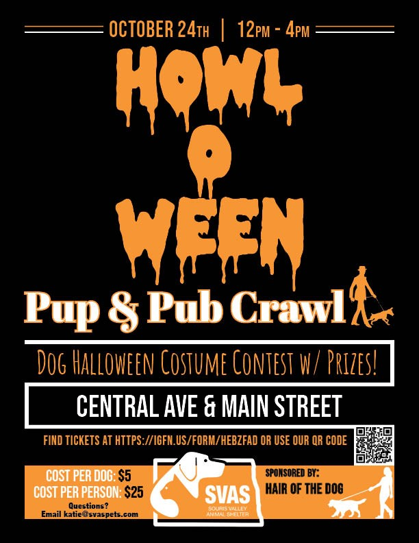 Howl-O-Ween Pup and Pub Crawl on October 24th